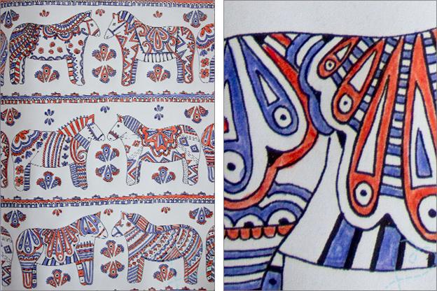 paarden action kleurplaat