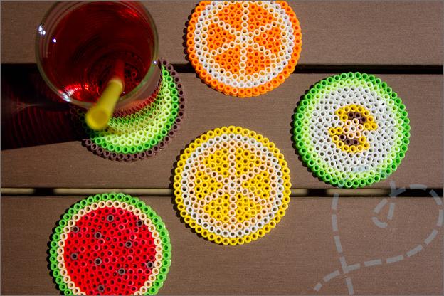 stijkkralen HAMA fruit onderzetters