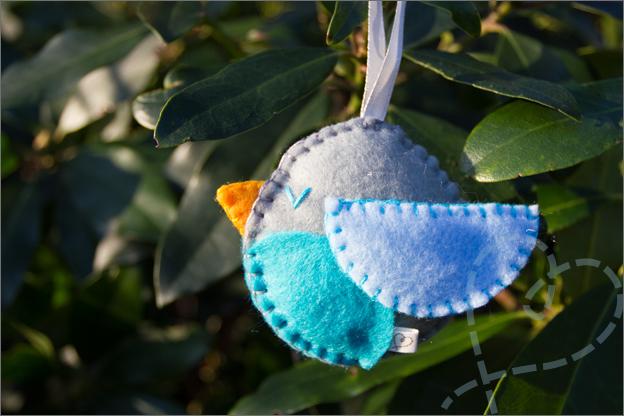 vogel blauw vilt