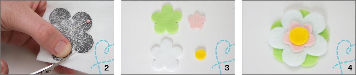 vilt bloemen stap 2,3 en 4