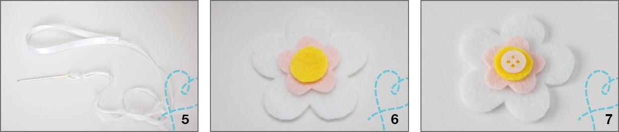 stap 4,5 en 6 bloemen vilt