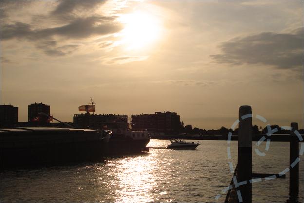 Haven Dordrecht zonsondergang