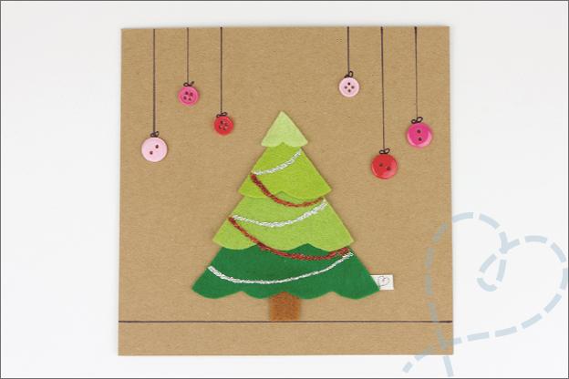 kerstboom kerstkaartje zelfgemaakt