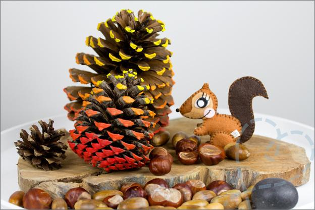 Herfsttafel eekhoorn denneappels