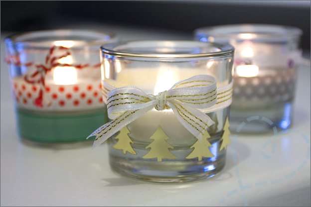 DIY kerst waxinelichthouder