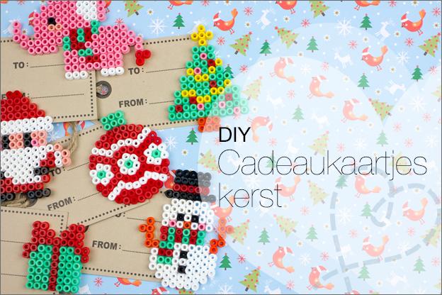 cadeaulabels knutselen met strijkkralen kerst