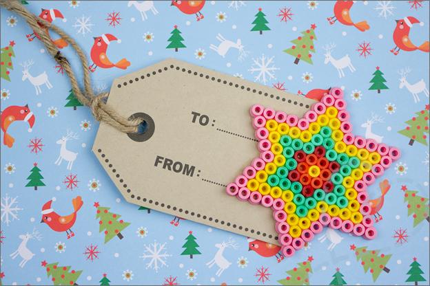 kerstster cadeaulabel