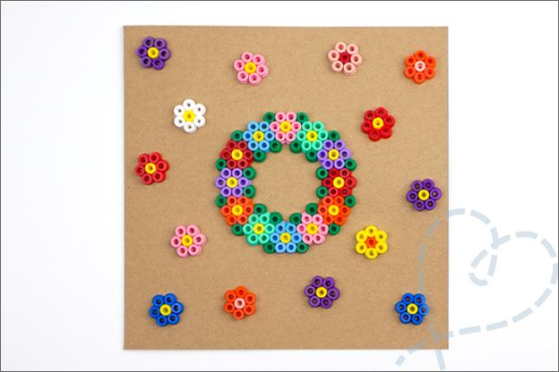 kaart strijkkralen patroon bloemen