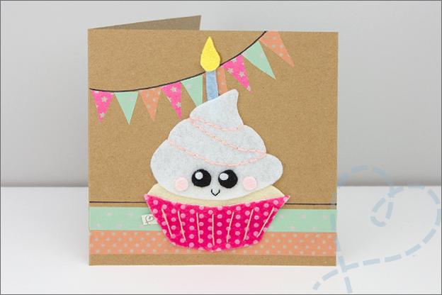 verjaardagkaart cupcake