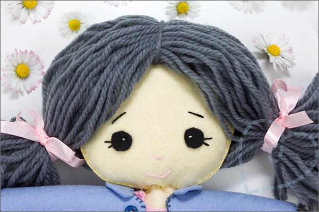 Gezicht van pop vilt My felt doll