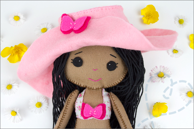 gezicht pop van vilt my felt doll shelly down