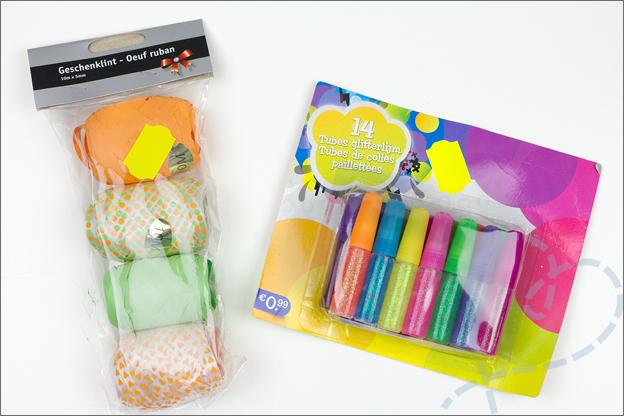 shoplog kruidvat opruiming knutselspullen glitterlijm en lint