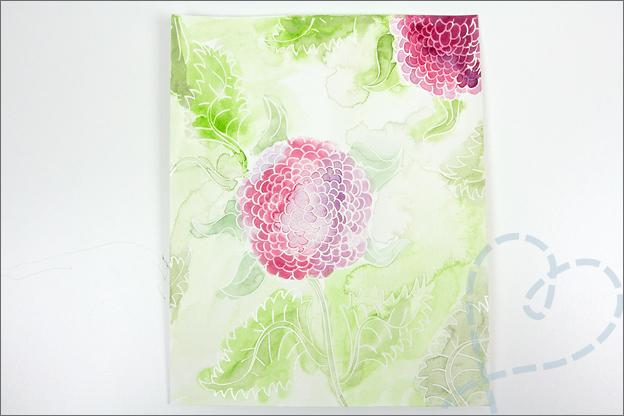 Aquarel met folie bloem