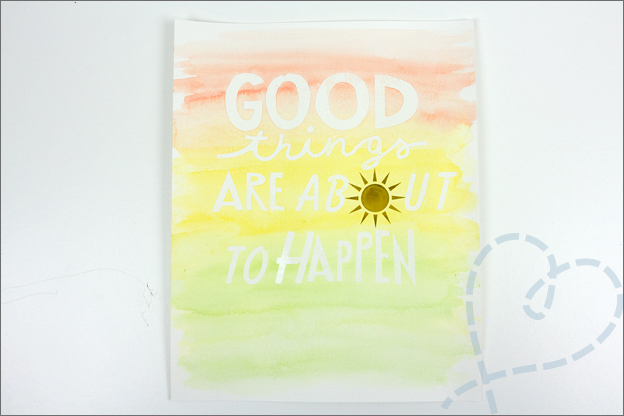 Aquarel met folie quote