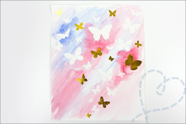 Aquarel met folie vlinders