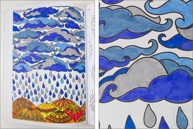 kleurplaat regen en wolken