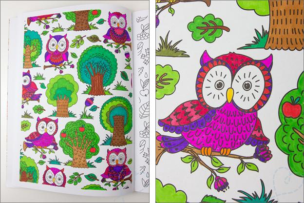 voorbeeld kleurplaat uilen, bomen en planten