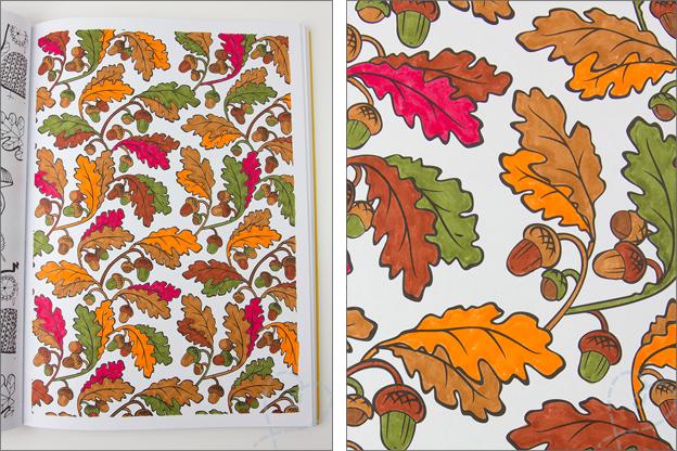 kleurplaat herfst met herfstbladeren