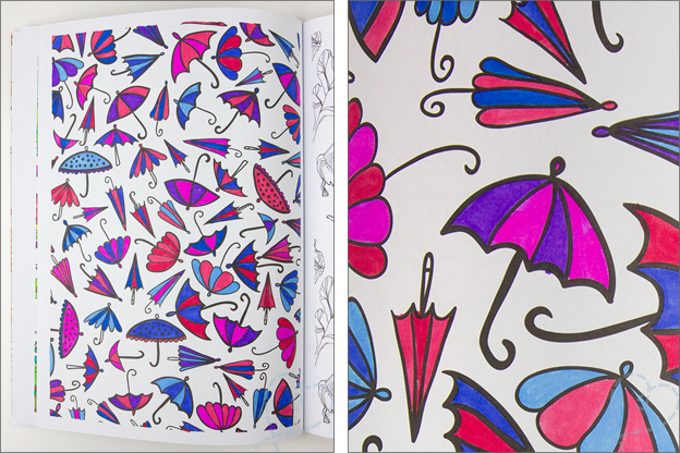 kleurplaat met paraplus