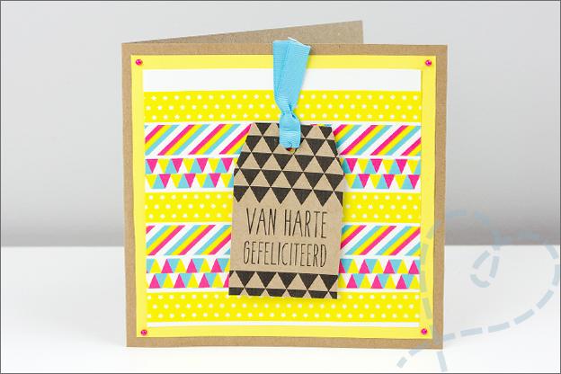 verjaardagskaart met label zelf gemaakt