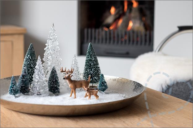 Kerstschaal hertjes sneeuw kerstboompjes maken