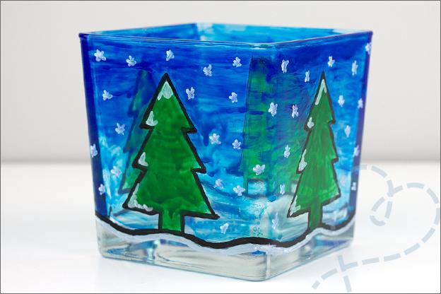last minute kerstcadeau inkleuren glas glasverf kerstboom