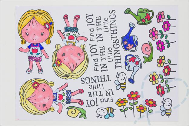 kaarten maken clear stamps inkleuren met stiften
