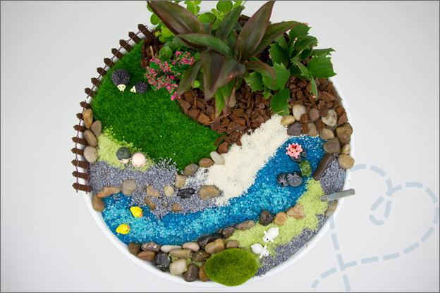 miniatuur tuin van bovenaf