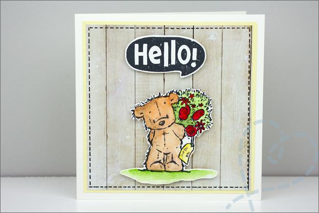 Zelfgemaakte kaart voorbeeld beer met bloemen