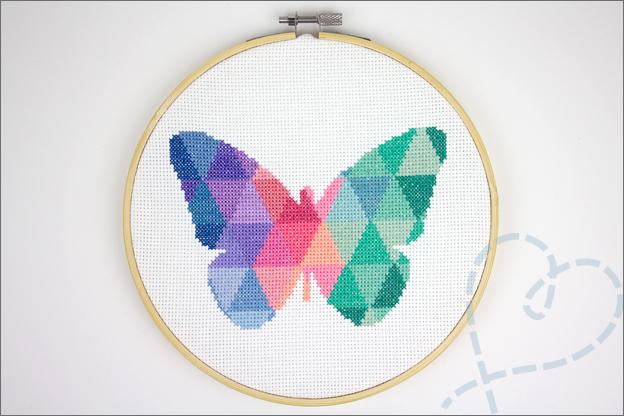 Borduren vlinder geometrisch modern eindresultaat