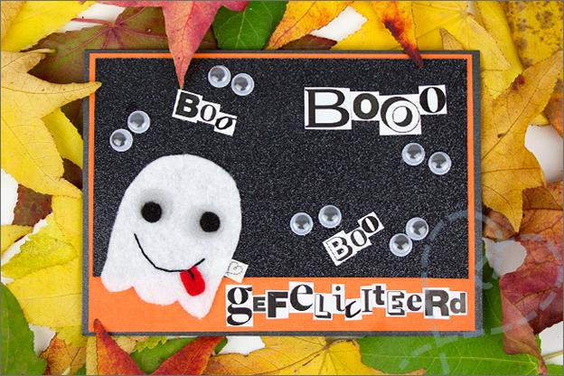 verjaardagskaart stoere jongen meiden spook halloween