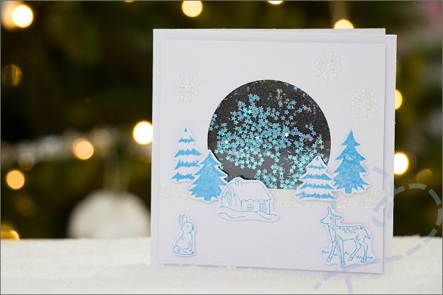 Kerstkaart zelfgemaakt hert sneeuw sterretjes
