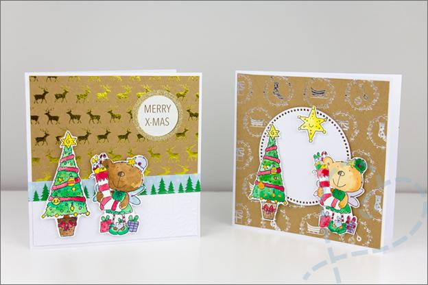 Kerstkaarten clear stamps zelf maken