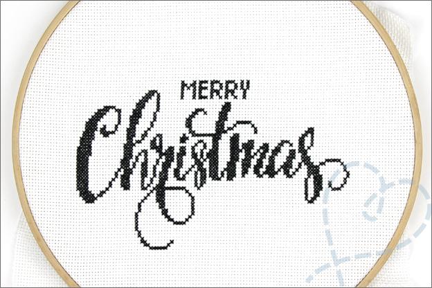 Borduren kerstmis patroon merry christmas