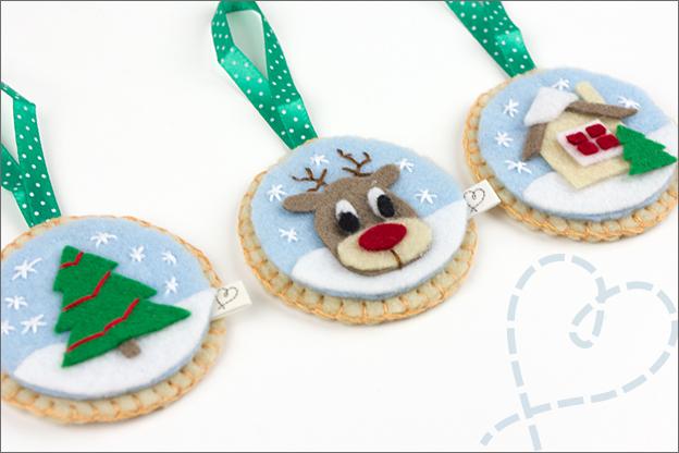 Kerstballen van vilt maken kerstboom hert huisje