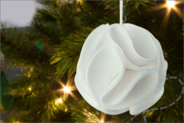 kerstbal van vilt 3D