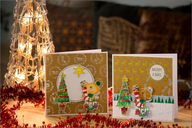 Kerstkaarten maken met clear stamps 2017