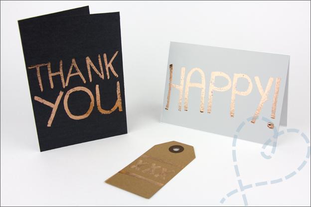 Transferfolie techniek lijmstift kaarten maken handlettering
