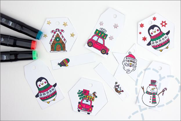 DIY kerst Cadeaulabels inkleuren stiften