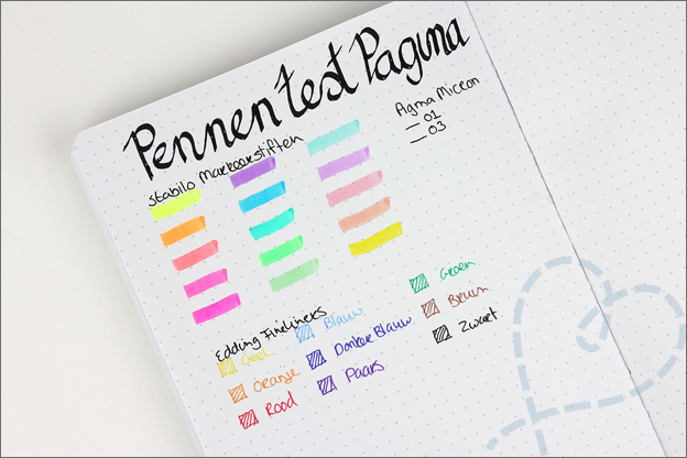 Action bullet journal pennen test pagina