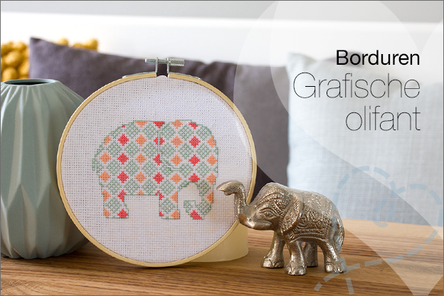 Borduren olifant grafisch patroon