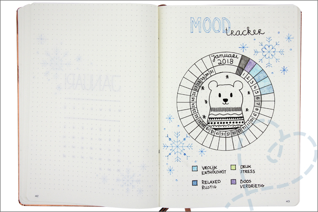 Bullet journal 2018 mood tracker januari
