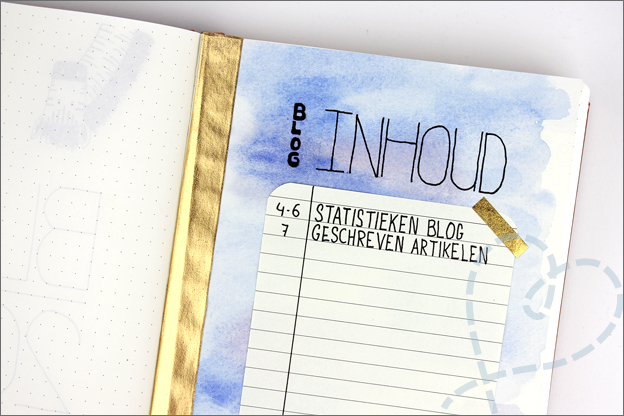 Bullet journal inhoudsopgave idee blog