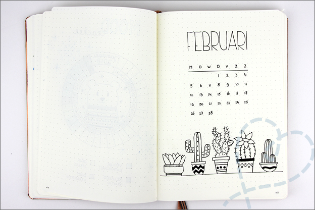 Bullet journal inspiratie cover februari