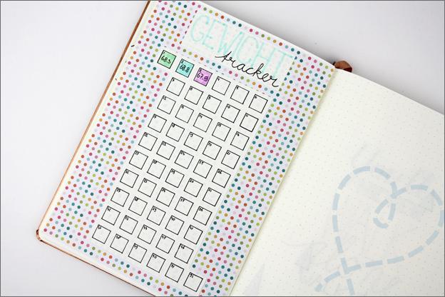 Bullet journal inspiratie gewicht tracker Februari