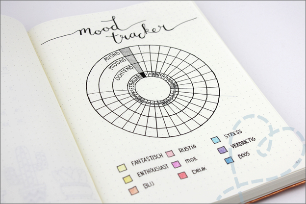 Bullet journal inspiratie mood tracker Februari