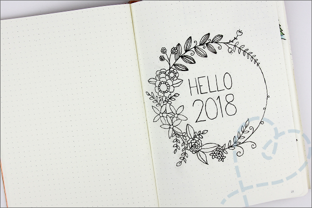 Bullet journal titelpagina cover inspiratie 2018