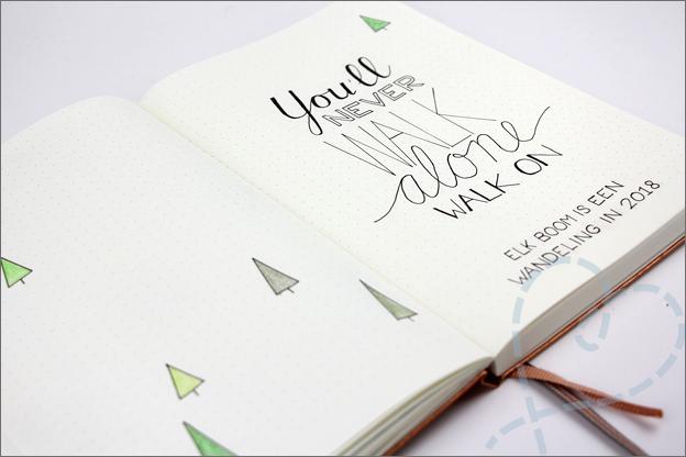 Bullet journal wandelpagina stappenteller inspiratie ideeen