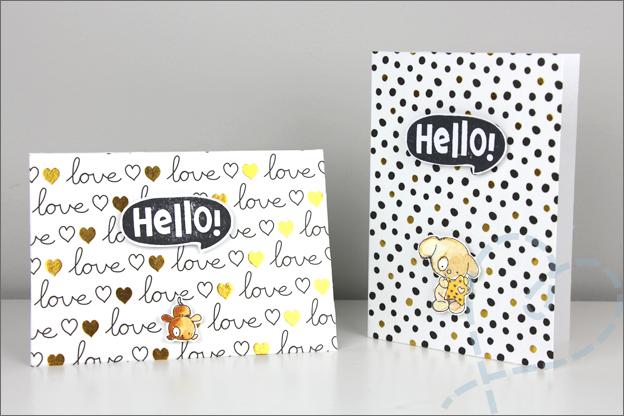 Zelf maken kaarten clear stamps goud folie