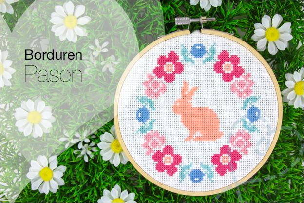 Borduren pasen bloemen konijn